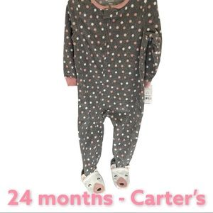 Carter's 24 mo. Girls footsie pajamas! Zip up NWT